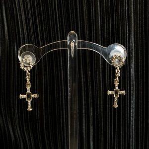 Vintage Jewelry - Jeweled cross drop earring